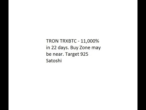 TRON TRXBTC – 11,000% in 22 days. Buy Zone may be near. Target 925 Satoshi for 40-50% Gains.