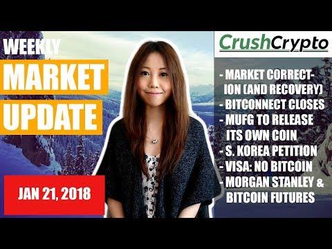 Weekly Update: Market Correction / Bitconnect / MUFG Coin / S. Korea / Visa / Morgan Stanley