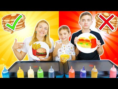 PANCAKE ART CHALLENGE 4 !!! – Mère VS Fils : Hamburger frites, Glace, Donut…