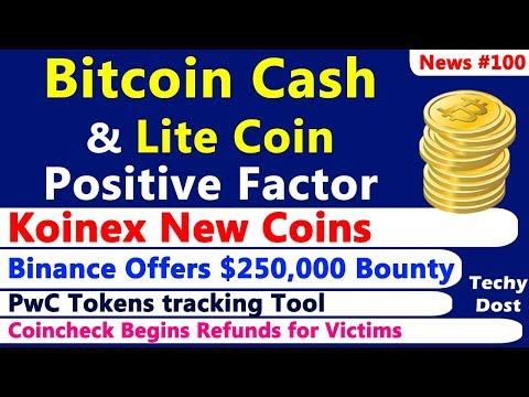 Bitcoin Cash & LiteCoin Positive Factor, Koinex New Coins, Binance $250,000 Reward, PwC Tool