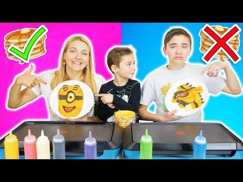 PANCAKE ART CHALLENGE 5 !!! – Mère VS Fils : Minions, Mario, Creeper…
