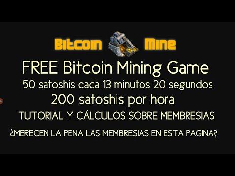 FREE Bitcoin Mining Game – 200 satoshis Hora – TUTORIAL y Calculos Membresias