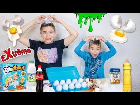 CHALLENGE TÊTE D'OEUF EXTRÊME ! – Douche de Coca-Cola, Farine, Lait, Slime …