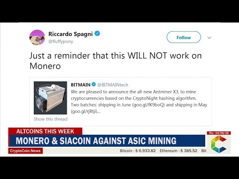 Altcoins This Week: Monero & SiaCoin Against ASIC Mining, Belarus Legalizes Cryptocurrency And More