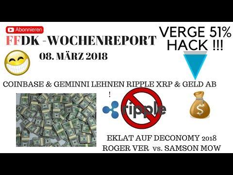FFDK WOCHENREPORT – Vitalik Buterin EKLAT auf DECONOMY 2018- COINBASE lehnt XRP ab – Verge HACK 51%