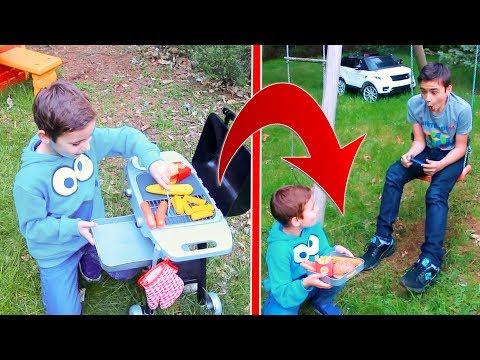 BARBECUE MAGIQUE ! – Il faut toujours être gentil avec son frère – Kids Pretend Play Barbecue