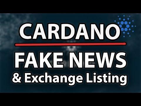 [WARNING] Cardano (ADA) FAKE NEWS!! & New Exchange Listing