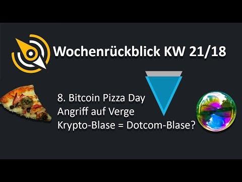 8ter Bitcoin Pizza Day | Angriff auf Verge | Krypto-Blase = Dotcom-Blase? | KW 21/18