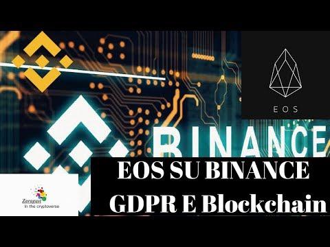 EOS SU BINANCE | GDPR E Blockchain