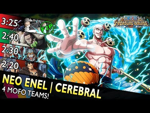 [OPTC] Neo Enel Raid | Cerebral Only – 4 Teams (F2P, Inuarashi, Crocodile, 6+ V2 Law)
