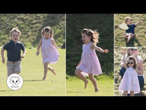 Adorable George and Charlotte Run and Play on Grassy Verge at Charity Polo Match