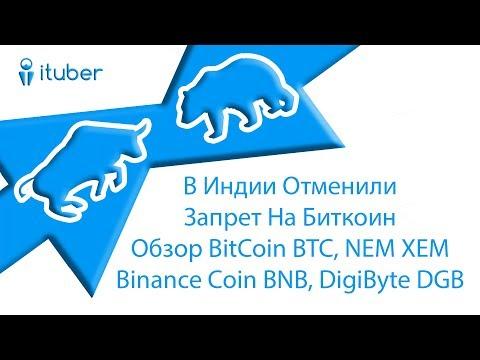 В Индии Отменили Запрет На Биткоин. Обзор BitCoin BTC, NEM XEM, Binance Coin BNB, DigiByte DGB.
