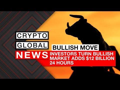 Investors Turn Bullish as Cryptocurrency Market adds $12 Billion 24 Hours
