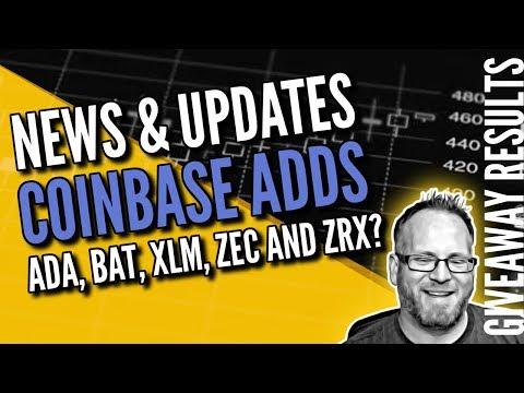Coinbase adds ADA, BAT, XLM, ZEC and ZRX? – Rewardstoken Giveaway winner!