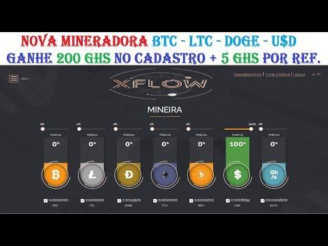 XFLOW NOVA MINERADORA HYPE BITCOIN LITECOIN DOGECOIN DOLAR GANHE 200 GHS GRÁTIS + 5 GHS POR REFERIDO