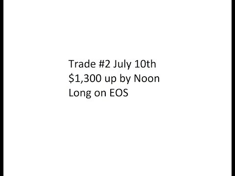 Trade #2 July 10th – $1,300 up by Noon. Long on EOS