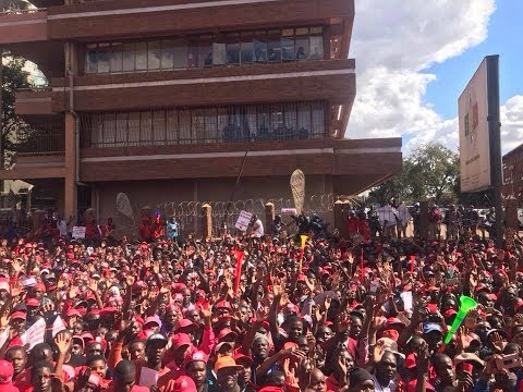 Mdc Alliance Crowd Outside ZEC Offices In Harare (Ballot Paper Demo)