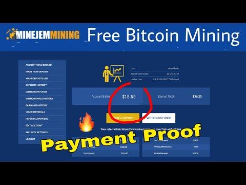 Minejem Mining Review $18 Withdrawl Proof  Free Bitcoin Cloud mining 2018   Free $261 Signup Bonus