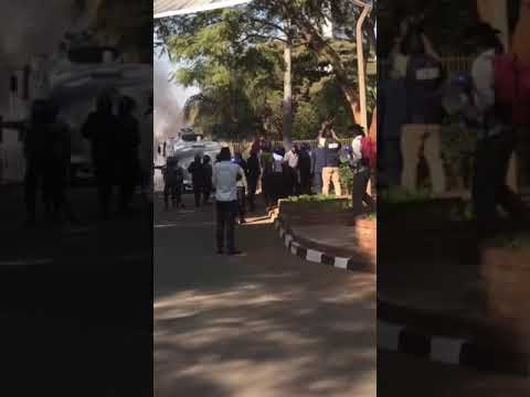 MDC youths protesting outside Rainbow Towers against ZEC