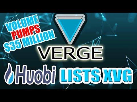 Verge (XVG) Huobi Listing causes $35million PUMP in VOLUME