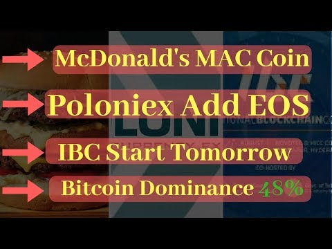 Poloniex Add EOS | India Dabba Trading | McDonald's Mac Coin | IBC Tomorrow | BTC Dominance 48.2%