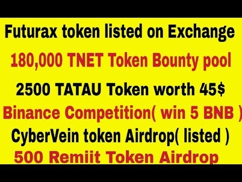 180,000 TNET token bounty | Binance Giveaway | 2500 TATAU token | CVT(listed)