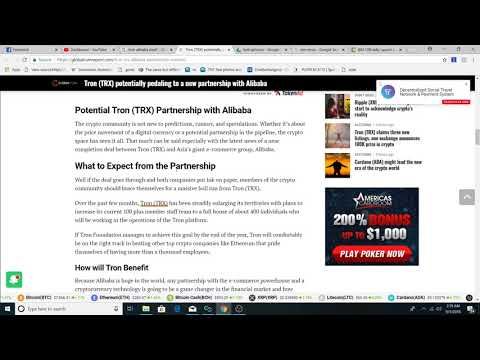 Tron possible partnership with Alibaba? Rocket up to $4 possible?