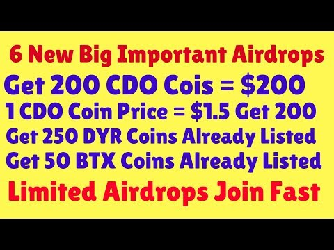 Important Airdrops | Get 200 CDO Cois = $200 And 250 DYR Coins Already Listed | Exchange Market