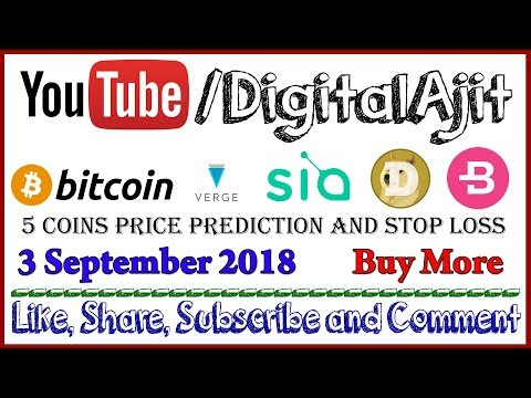Bitcoin, XVG (Verge), DOGE, BCN (Bytecoin) or SC (Sia Coin) Price prediction 3 September 2018