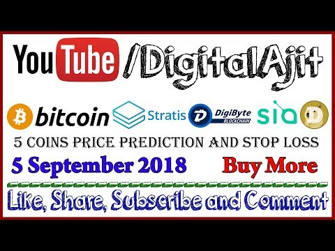 Bitcoin, Sia, Digibyte, Stratis or Doge Coin Price analysis 5 September 2018