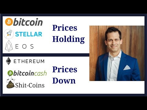 Bitcoin (BTC) & Stellar (XLM) cryptocurrency prices hold; Ethereum (ETH) & shit-coin prices down.
