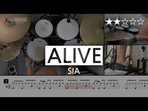 022 | Alive – SIA  (★★☆☆☆) Drum Cover Score Sheet Lessons Tutorial | DRUMMATE