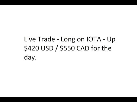 Live Trade – Long on IOTA – Up $420 USD / $550 CAD for the day.
