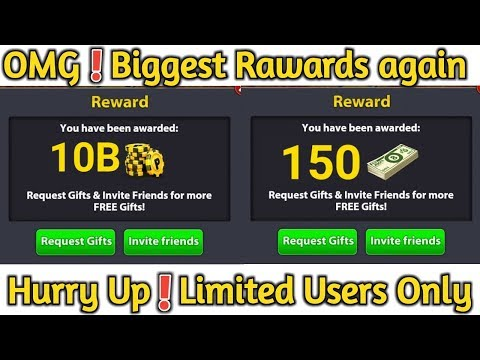 OMG ! 8 Ball Pool Biggest Rewards Again ! 10B Coins + 150 Cash Reward | Hurry up Limited Users Only