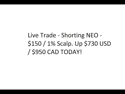 Live Trade – Shorting NEO – $150 / 1% Scalp. Up $730 USD / $950 CAD TODAY!