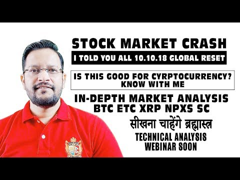 STOCK MARKET CRASH – Is this Good for Cryptocurrency? In-Depth technical Analysis on BTC ETC XRP