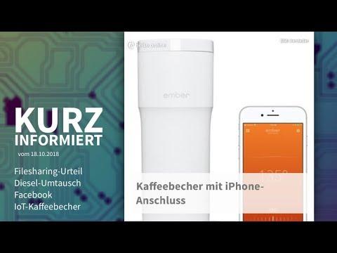Filesharing-Urteil, Diesel-Umtausch, Facebook, IoT-Kaffeebecher | Kurz informiert vom 18.10.2018