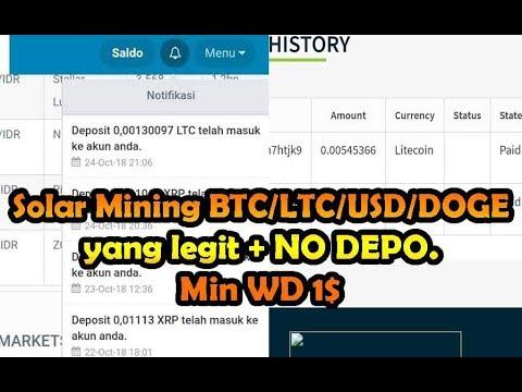 Solar Mining BTC/LTC/USD/DOGE  yang legit + NO DEPO.   Min WD 1$