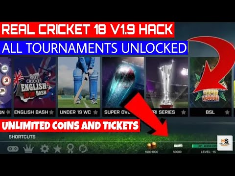 ?How To Hack Real Cricket 18 V1.9?All Tournaments Unlocked, Unlimited Coins & Tickets, Pro kit?