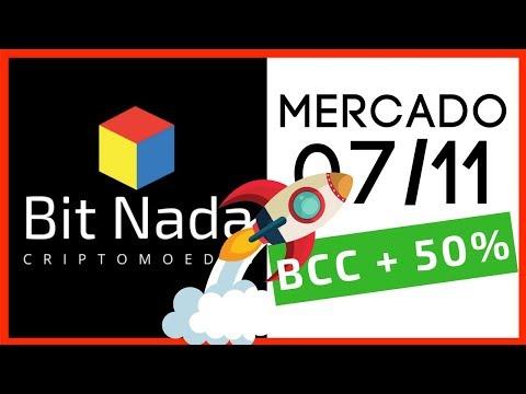 Mercado de Cripto! 07/11 BCC subindo 50% / BTC / ZEC / XRP