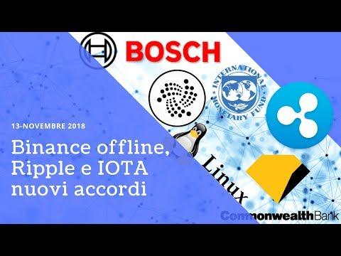 Binance offline, Ripple e IOTA nuovi accordi! TG Crypto