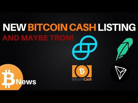 Bitcoin Cash on Gemini, Robinhood Hints at TRON – Today's Crypto News