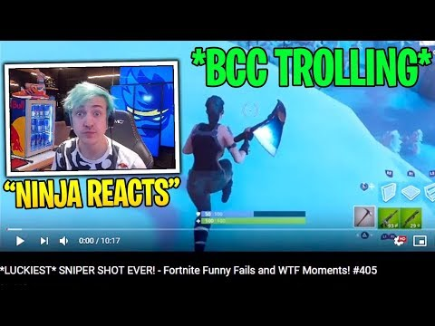 Ninja Reacts to BCC Trolling *LUCKIEST* SNIPER SHOT EVER! – Fortnite Funny Fails and WTF Moments!