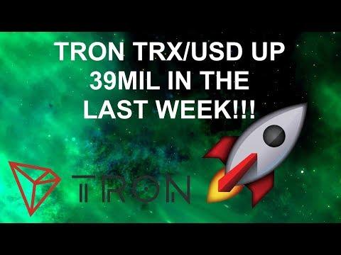 TRON TRX vs USD UP 39MIL IN THE LAST WEEK!!!!