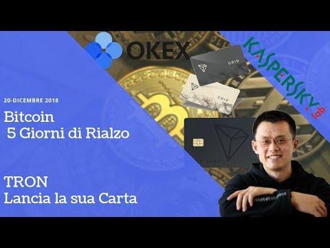 Bitcoin 5 Giorni di Rialzo | TRON Lancia la sua Carta | TG Crypto