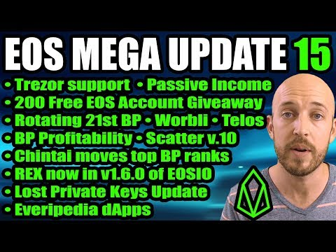 EOS Mega Update 15 – Trezor Support! Passive Income! Telos, Worbli, 200 Free EOS Account Giveaway