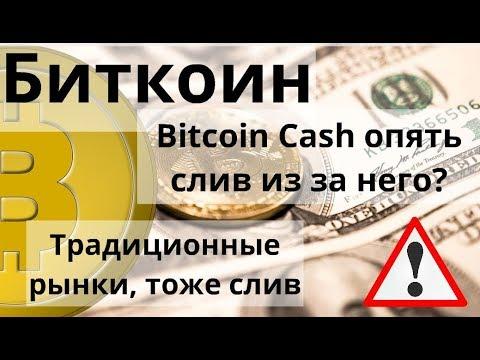 Биткоин. Bitcoin Cash опять слив из за него? Традиционные рынки, тоже слив