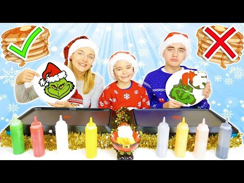 PANCAKE ART CHALLENGE 8 !!! – Mère VS Fils : Le Grinch, Sapin de Noël, Père Noël …