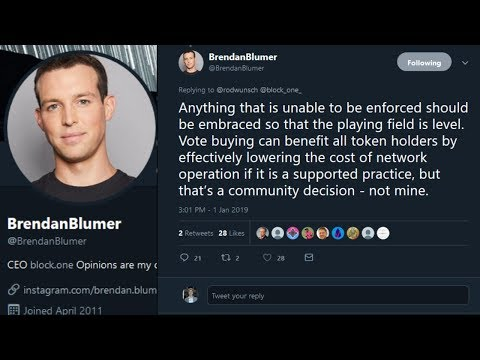 CEO of Block One Brendan Blumer Supports Vote Buying On EOS