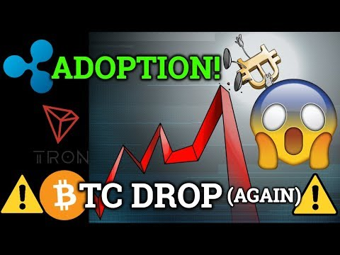 Bitcoin BTC Drops *Again*! Ripple XRP Adoption! Cryptocurrency Technical Analysis! (News + Trading)